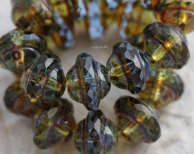 SAPPHIRE BLISS No. 3 .. 10 Picasso Czech Glass Saturn Beads 8x10mm (5511-10)