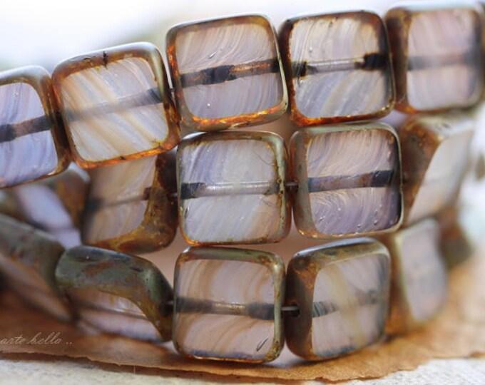 FOXGLOVE .. 15 Premium Picasso Czech Glass Square Beads 9mm (B1014-15)