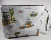 Garden Theme Large Knitting Project Bag - Large Project Bag - Zippered Project Bag - Crochet Project Bag - Sweater Size Project Bag