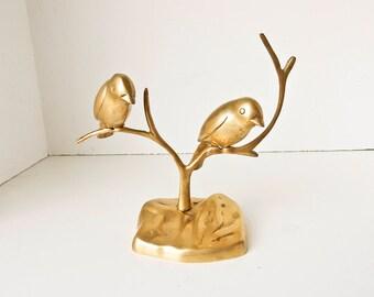 Brass Birds on Branch Statue, Brass Bird Jewelry Display, Brass Lovebirds, Brass Sparrows, Brass Bird Pair