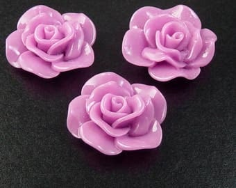 Cabochon Flower 2 Opaque Resin Rose Flower Round Pendant Size 30mm Purple Pink (1014cab30m3-4)