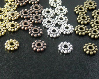 Bead Spacer Antique Silver, Gold, Bronze, Copper Flower Daisy Multi Mix Color CHOICE 6.5mm NF (1020spa06m1)