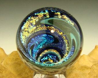 Vortex Marble Dichroic Glass paperweigt Art Fibonacci Golden Mean Spiral Optical Illusion (ready to ship)