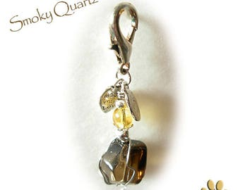 Smokey Quartz crystal and Citrine- Collar pet amulet, Aids with Fear, Accidents and emergencies -Moving to new surroundings