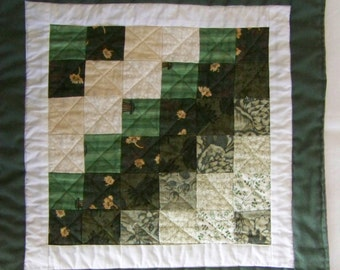 Scrappy  Mini Quilt or Table Mat in Shades of Green and Tan