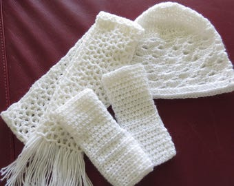 Girls Crocheted Hat / Scarf Gloves Hat Set /  Gift Set / Fingerless Gloves / Hat Scarf Set / Child's Ascessory Set / Free US Shipping