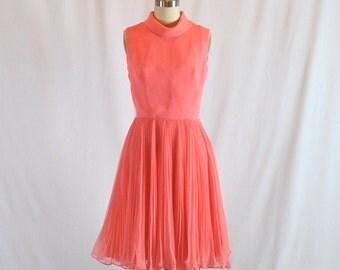 "Vintage 60s Chiffon Dress | Cocktail Dress | Full Circle Skirt | Jack Bryan 26"" Waist"