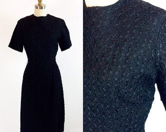"Vintage 1950s Old Hollywood LBD Wiggle Dress | Ribbon Weave | 26"" Waist Small"