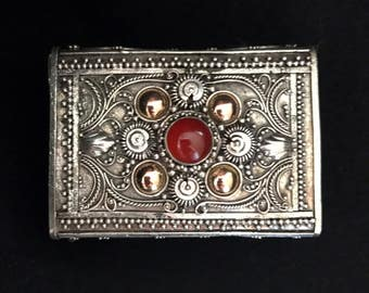 Red semiprecious stone -Matchbox, Pillbox, Ring Box, handcrafted Indonesian sterling silver and 14K Gold