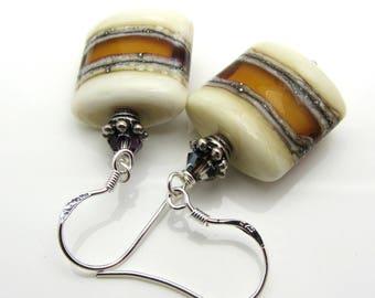 Lampwork Earrings Glass Artisan Earrings Topaz and Ivory Silver Ivory Glass Bead Earrings Dangle Drop Earrings Mothers Day Gift SRAJD