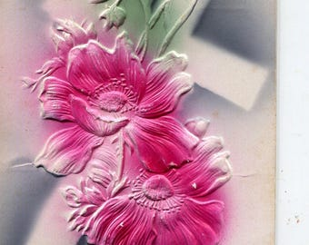 Easter Postcard - Vintage Easter Postcard Embossed Air Brushed  Cross with Poppies, Religious