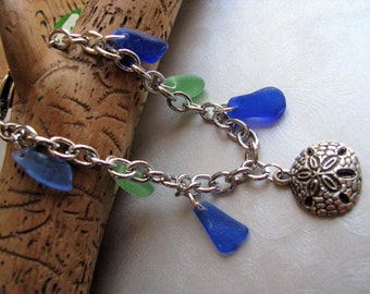 Rare Cobalt Blue and Green Beach Glass Bracelet - Sand Dollar Charm - Heart Clasp