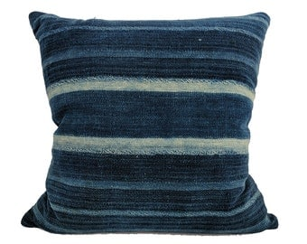 African Indigo Farmhouse Stripe Pillow | DUBYA 18x18