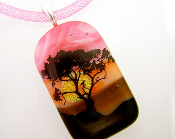 Sunset Through the Tree with Birds in Flight ~ Dichroic and Art Glass Multi-Layered Pendant Crystal Mesh Necklace