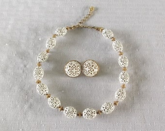 1970s Vintage Monet White Filigree Bead Necklace and Earring Demi Parure Georgette