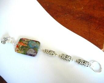 The Owl's Garden ... bracelet, mixed impression jasper, owl alligator clasp ... #757