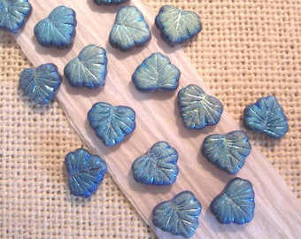 Czech Maple Leaf  Iridescent  Blue 10x13mm Glass Beads - 20 Count