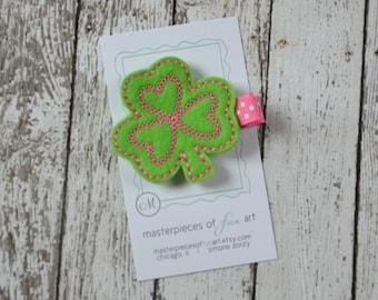 St. Patricks Day Shamrock Felt Hair Clippie - Emerald Green and Pink Clover Felt Hair Clip - St. Patricks Day hair bow