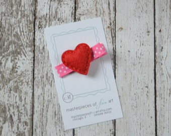 Valentines Day Tiny Heart Felt Hair Clip - red with hot pink and white polka dots - Valentine Clippie - Non Slip Grip Clip