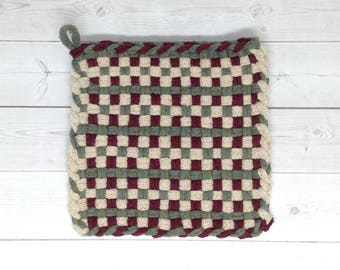 Potholder Woven Cotton Loop Old Fashioned Potholder, Hotpad, trivet or coaster