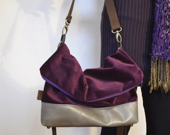 WINTER 2016 | Eggplant Velvet Deluxe Over the shoulder and Crossbody Foldover Handbag