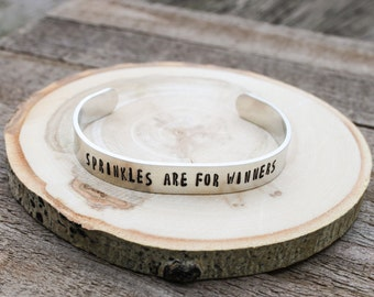 Cuff Bracelet -Sprinkles are for winners- aluminum cuff - stocking stuffer - adjustable bracelet - boho cuff