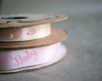 Vintage Baby Shower Ribbon for a Little Girl Craft Trim Made in USA Pastel Pink and White Water Repellent