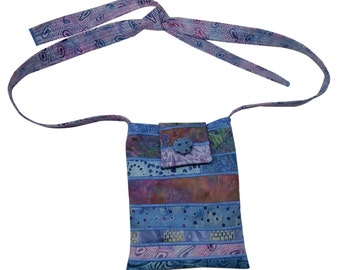 Small Batik Bag in Blue and Lavender with Adjustable Straps