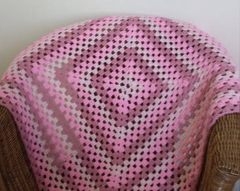 Pink Crochet Granny Square Lap Throw  Blanket Afghan Square Home Decor Bedding Made in Australia