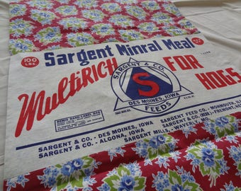 Whole Feedsack with Label. Iowa. Burgundy. Blue Floral. Like New