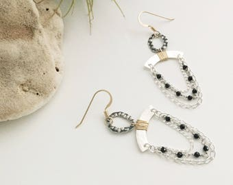 Mixed Metal & Black Spinel Chain Chandelier Earrings (E451SG-SP) - Sterling Silver, Gold Filled, Gemstone - Handcrafted by cristysjewelry