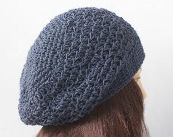 Cotton Hat,  Custom Chose Color,  Slouchy Beanie, Crochet Boho Hat, Spring Hat