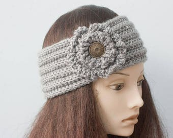Custom Flower Headband, Flapper Style Head Band,  Ear Warmers, Chose Color, Hand Knit Woman's Button Headband