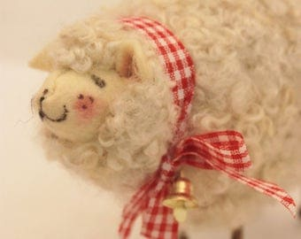 White Needle Felted Curly  Sheep #2410