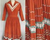 Vintage 1950s Dress / Southwest Broomstick Skirt Patio Set  / 50s Dress Set, Adobe Brown Cotton with Trims / Size 8, Medium