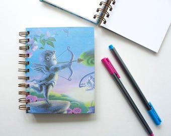 Blank Notebook – Cherub – Journal – Sketchbook – Old Book Pages –  Paper Anniversary – First Anniversary – Spiral Notebook – Back to School