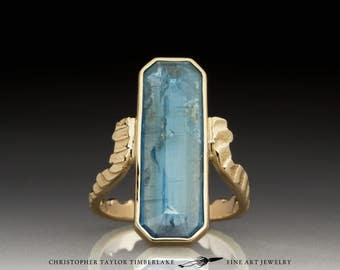 Gold Cuttlefish Ring with Kyanite