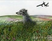 Lurcher Art Dog Print