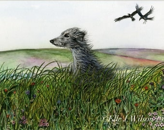 Lurcher Art Dog Print