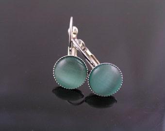 Cats Eye Earrings, Blue Green Cats Eye Glass Earrings, Silver Earrings, Ear Cuffs, Small Earrings, Sleeper Earrings, Cats Eye Jewelry, E2050