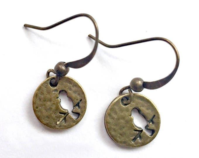 Bronze Brass Bird Earrings, Pierced Antique Bronze Bird Earrings, Handmade Bird Earrings, Dangling Bronze Cat Earrings, Bird Branch Earrings