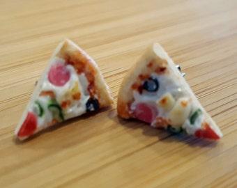 Pizza Slice Earrings - Food Jewelry - Pizza Jewelry - Food Earrings - Polymer clay