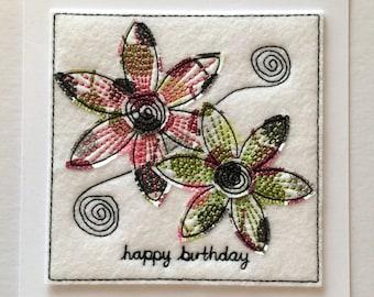 Sketchy Flower - Happy Birthday Card