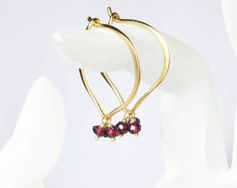 Garnet Gemstone Lotus Hoop Earrings - Medium or Large Gold Hoops