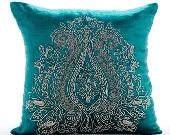 "Peacock Green Decorative Pillow Cover, Square Silver Zardozi Indian Paisley Antique Traditional 16""x16"" Velvet Pillow Covers - Royal Duke"