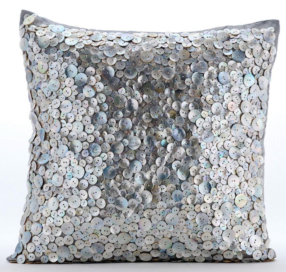 luxury pearl throw pillows cover 16x16 silver. Black Bedroom Furniture Sets. Home Design Ideas