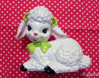 Vintage Japan Kitsch Ceramic White Lamb Sheep Sitting with Yellow Bow n Flowers Figurine