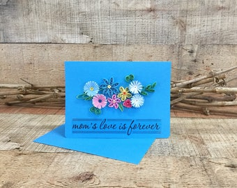 Mothers Day Quilled Card, Blue Quilling Card, Moms Day Floral Blank Note Card, Mothers Love Greeting Card, Handmade Card