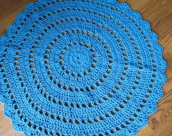Bright Blue Round Doily Style Rug