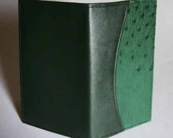 Leather 2017 Pocket Planner Cover with Weekly Calendar - Green Cowhide with Genuine Ostrich Leather Inlay - IMMEDIATE SHIPPING